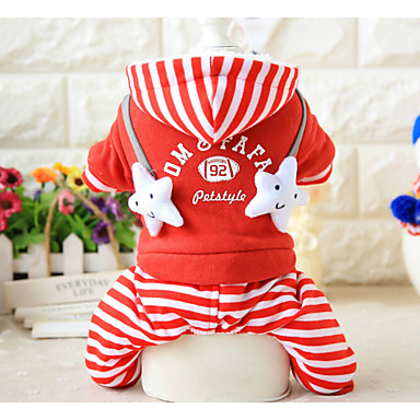 Dog Jumpsuit Dog Clothes Stripe Letter & Number Black Red Other Material Costume For Pets Men's Women's Casual / Daily