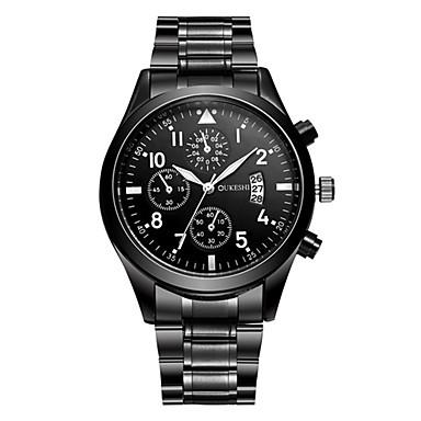 Недорогие Часы на металлическом ремешке-Муж. Наручные часы Кварцевый Нержавеющая сталь Черный Календарь Аналоговый На каждый день Мода - Черный