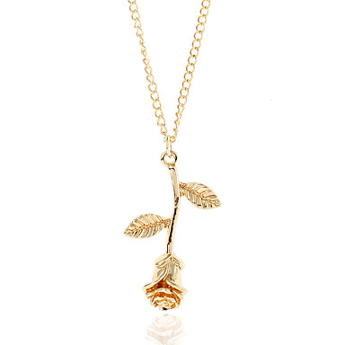 cheap Rose Gold Necklaces-Women's Choker Necklace Pendant Necklace Y Necklace Snowflake Ladies Simple Fashion Alloy Gold Silver Rose Gold Necklace Jewelry One-piece Suit For Street Club