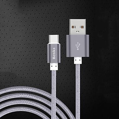 USB 2.0 Type-C Kábel Töltőkábel Adatkábel Fonott Kábel Kompatibilitás Samsung Huawei Xiaomi 100 cm Műanyag