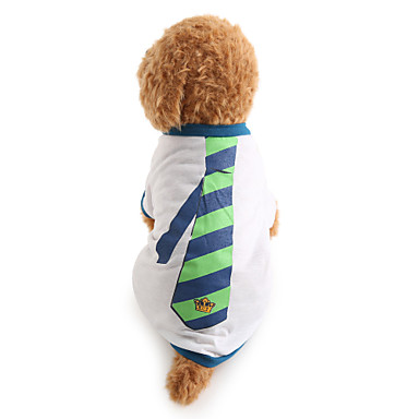 Dog Shirt / T-Shirt Dog Clothes Stripe White Cotton Costume For Pets Men's Holiday Fashion