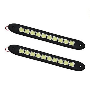 זול תאורת יום לרכב-2pcs מכונית נורות תאורה 10W COB 1 אורות יום For אוניברסלי כל השנים