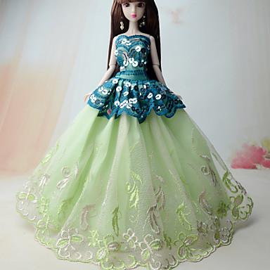 Prenses Elbiseler İçin Barbie Bebek Polyester Elbise İçin Kız Oyuncak bebek