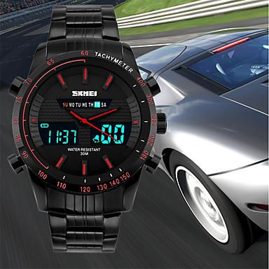 Недорогие Часы на металлическом ремешке-SKMEI Муж. Спортивные часы Японский Цифровой Нержавеющая сталь Черный 50 m Защита от влаги Календарь Секундомер Аналого-цифровые Роскошь На каждый день Мода - Красный Зеленый Синий / Хронометр