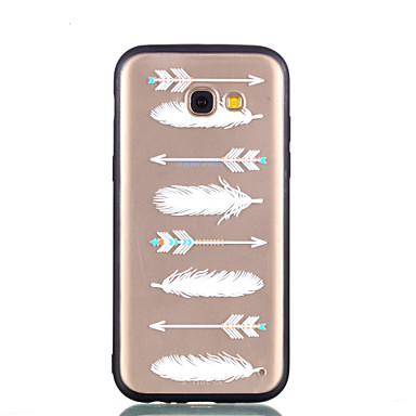 voordelige Galaxy A-serie hoesjes / covers-hoesje Voor Samsung Galaxy A5(2018) / Galaxy A7(2018) / A3 (2017) Transparant / Reliëfopdruk / Patroon Achterkant Veren Hard PC