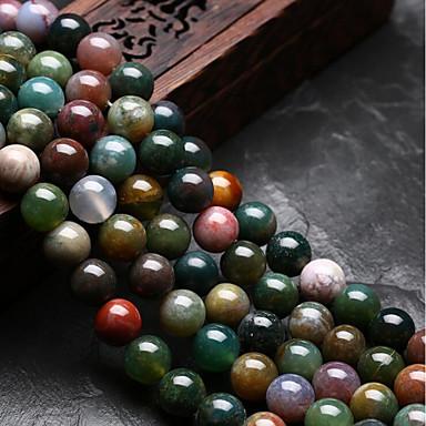 billige Perler og smykkemaking-DIY Smykker 48 stk Perler Agat Regnbue Rund U form Perlene 0.8 cm DIY Halskjeder Armbånd