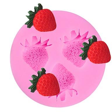 3 Cavity Strawberry Fruit Silicone Cake Mold Fondant Sugarcraft Chocolate Mould