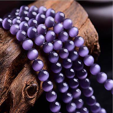billige Perler og smykkemaking-DIY Smykker 46 stk Perler Syntetiske Edelstener Lilla Rund Perlene 0.8 cm DIY Halskjeder Armbånd