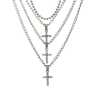 billige Mode Halskæde-Dame Kort halskæde Halskæder med flere lag Kors Damer Vintage Mode Guld Sølv Halskæder Smykker Til Ferie Bar Cosplay Kostumer