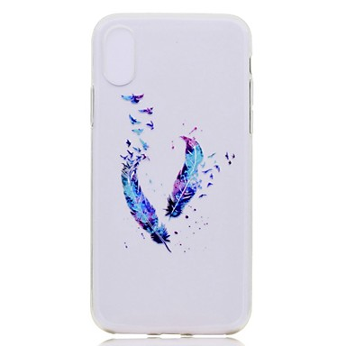 voordelige iPhone 6 Plus hoesjes-hoesje Voor Apple iPhone XS / iPhone XR / iPhone XS Max Transparant / Patroon Achterkant Veren Zacht TPU