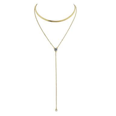billige Mode Halskæde-Dame Lasso Y Halskæde Halskæder med flere lag Damer Basale Guld Sølv Halskæder Smykker Til Daglig Nytår
