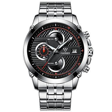Χαμηλού Κόστους Ανδρικά ρολόγια-CADISEN Ανδρικά Αθλητικό Ρολόι Χαλαζίας Ανοξείδωτο Ατσάλι Μαύρο / Λευκή 30 m Ανθεκτικό στο Νερό Ημερολόγιο Χρονογράφος Αναλογικό Καθημερινό Μοντέρνα - Λευκό Μαύρο Μαύρο / Ασημί / Δύο χρόνια