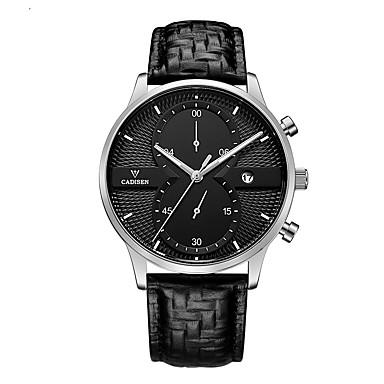 Χαμηλού Κόστους Ανδρικά ρολόγια-CADISEN Ανδρικά Αθλητικό Ρολόι Ρολόι Καρπού Χαλαζίας Δέρμα Μαύρο 30 m Ανθεκτικό στο Νερό Ημερολόγιο Χρονογράφος Αναλογικό Καθημερινό - Μαύρο / Λευκό Μαύρο / Ασημί Μαύρο / Χρυσό Τριανταφυλλί