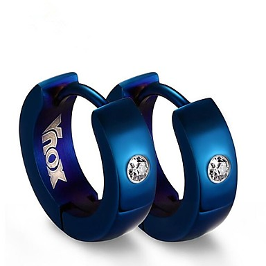 Men's Cubic Zirconia Hoop Earrings - Stainless Steel Fashion Black / Silver / Blue For Gift / Daily