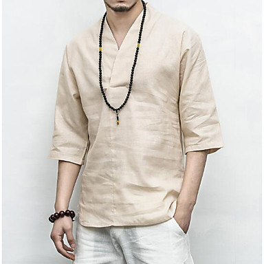 billige Herrers Mode Beklædning-V-hals Herre - Ensfarvet Hør Kineseri T-shirt Hvid XXXL / Sommer