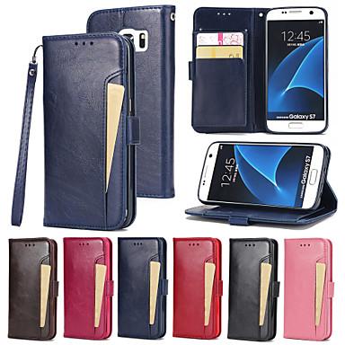 Carcasă Pro Samsung Galaxy S7 edge / S7 Peněženka / Pouzdro na karty / se stojánkem Celý kryt Jednobarevné Pevné PU kůže pro S7 edge / S7
