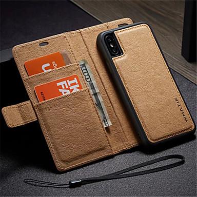 Недорогие Кейсы для iPhone-Кейс для Назначение Apple iPhone X / iPhone 8 Pluss / iPhone 8 Кошелек / Бумажник для карт / со стендом Чехол Однотонный Твердый Кожа PU / Своими руками