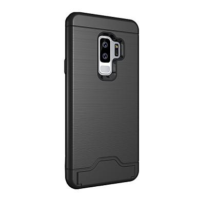 voordelige Galaxy S-serie hoesjes / covers-hoesje Voor Samsung Galaxy S9 Plus Kaarthouder / met standaard Achterkant Effen Kleur Hard PC