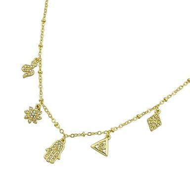 billige Mode Halskæde-Dame Kort halskæde Slange Blomst Simple Guld Hamsa-hånd 52 cm Halskæder Smykker Til Fest / aften Skole