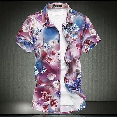 eb837e351d3 levne Pánské košile-Pánské - Květinový Základní Větší velikosti Košile  Bavlna Klasický límeček Štíhlý