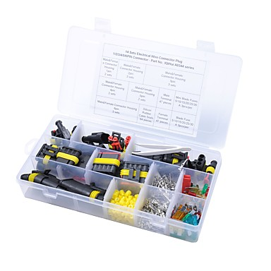 14 sets 1/2/3/4/5/6 pins way sealed electrical wire connector plug and car  blade fuse sets car 10/15/20amp tool box #06579471