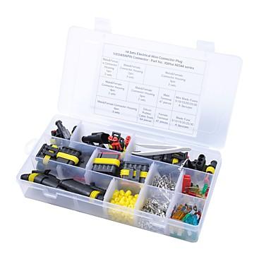 billige Gadgets og autodele-14 sæt 1/2/3/4/5/6 pin vejs forseglede elektriske ledningsstik og bilblad sikringssæt bil 10/15 / 20amp værktøjskasse