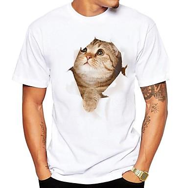 billige Herrers Mode Beklædning-Rund hals Store størrelser T-skjorte Herre - 3D / Dyr, Trykt mønster Gatemote Hvit XL / Kortermet / Sommer