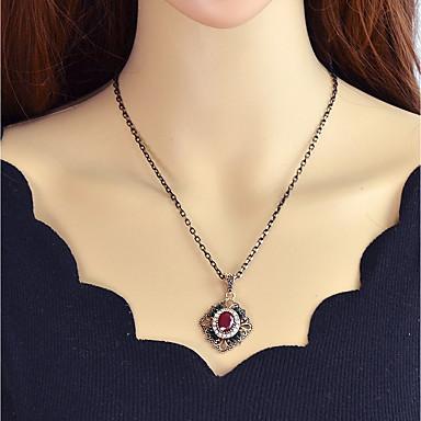 billige Mode Halskæde-Syntetisk Tourmalin Halskædevedhæng Blomst Damer Rød Mørkegrøn 52 cm Halskæder Smykker Til Fest / aften Skole
