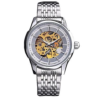 Χαμηλού Κόστους Ανδρικά ρολόγια-Ανδρικά Διάφανο Ρολόι μηχανικό ρολόι Ιαπωνικά Ανοξείδωτο Ατσάλι Ασημί 30 m 50 m Ημερολόγιο Χρονογράφος Μεγάλο καντράν Αναλογικό Πολυτέλεια Κομψό - Ασημί Μπλε Δύο χρόνια Διάρκεια Ζωής Μπαταρίας