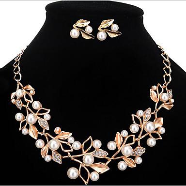 Pentru femei Perle / Imitație de Perle / Ștras Floral Set bijuterii Σκουλαρίκια / Coliere - Personalizat / Floral / Modă Auriu / Argintiu