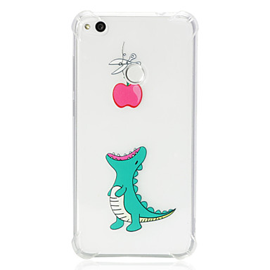 voordelige Huawei Y-serie hoesjes / covers-hoesje Voor Huawei Huawei P20 lite / P10 Lite / Huawei P9 Lite Schokbestendig / Transparant / Patroon Achterkant dier Zacht TPU
