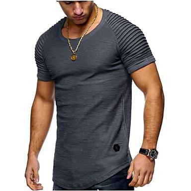 b60dfdf7ddc0e Homens Tamanhos Grandes Camiseta - Esportes Básico   Moda de Rua Sólido  Algodão Decote Redondo Delgado