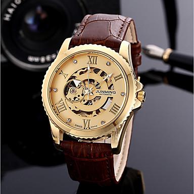 Χαμηλού Κόστους Ανδρικά ρολόγια-Ανδρικά μηχανικό ρολόι Συνθετικό δέρμα με επένδυση Καφέ 30 m 50 m Χρονογράφος Αναλογικό Πολυτέλεια Μοντέρνα - Ασημί Τριανταφυλλί Καφέ / Χρυσό / Ανοξείδωτο Ατσάλι