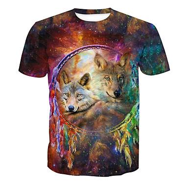 economico Abbigliamento uomo-T-shirt Per uomo Essenziale Con stampe, Animali Rotonda Arcobaleno XL / Manica corta / Estate