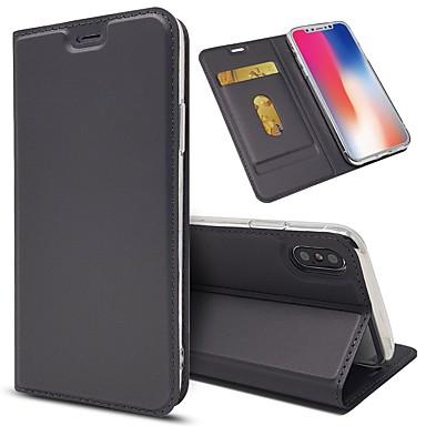 ieftine Carcase iPhone-Maska Pentru Apple iPhone X / iPhone 8 Plus / iPhone 8 Portofel / Titluar Card / Anti Șoc Carcasă Telefon Mată Greu PU piele