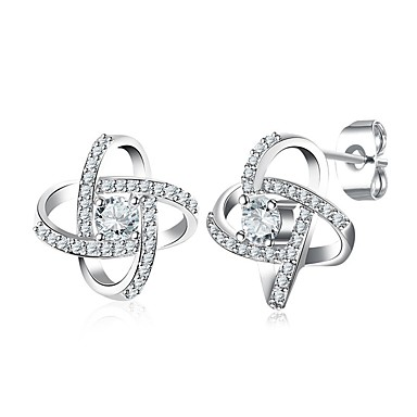b4abde811b08 Diamante Zirconia Cúbica diamante pequeño Pendientes cortos Aretes Flor  damas Moda Joyas Plata Para Boda Diario 6674023 2019 – €10.19