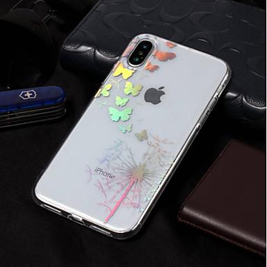 voordelige iPhone 5 hoesjes-hoesje Voor Apple iPhone X / iPhone 8 Plus / iPhone 8 Beplating / Patroon Achterkant Vlinder / Paardebloem Zacht TPU