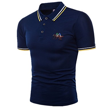 economico Abbigliamento uomo-Polo Per uomo Sport Essenziale Con ricami, Monocolore / Animali / Ritratto Colletto - Cotone Bianco XL / Manica corta