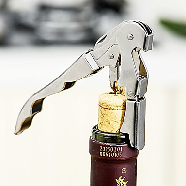 Stainless Steel Corkscrew Double Hinged Waiters Wine Bottle Opener Lever Tool