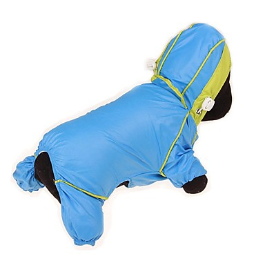 cheap Dog Clothing & Accessories-Dogs Cats Pets Rain Coat Waterproof Puffer / Down Jacket Dog Clothes Solid Colored Color Block Simple Yellow Fuchsia Blue Fabric Costume For Husky Dalmatian Japanese Spitz All Seasons Male Female