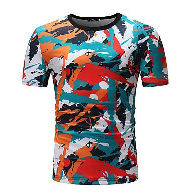 billige Herrers Mode Beklædning-Herre - Stribet / Geometrisk / Farveblok Patchwork / Trykt mønster T-shirt