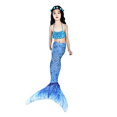 The Little Mermaid Costume de Baie Bikini Costume Pentru copii Pentru femei Slip rochie sirenă și trompetă Bikini Halloween Carnaval Festival / Sărbătoare Elastan Tactel Albastru Cerneală Costume de
