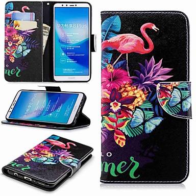 voordelige Huawei Y-serie hoesjes / covers-hoesje Voor Huawei Huawei Y7(Nova Lite+) / Huawei Y6 (2018) / Huawei Y6 (2017)(Nova Young) Portemonnee / Kaarthouder / met standaard Volledig hoesje Flamingo Hard PU-nahka