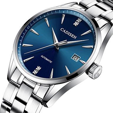 זול שעוני גברים-CADISEN בגדי ריקוד גברים שעון מכני Japanese מתכת אל חלד כסף 50 m עמיד במים לוח שנה אנלוגי פאר אופנתי - שחור ירוק כחול