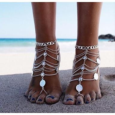 preiswerte Körperschmuck-Damen Barfußsandalen Fußschmuck Münze damas Klassisch Retro Fusskettchen Schmuck Silber Für Bikini