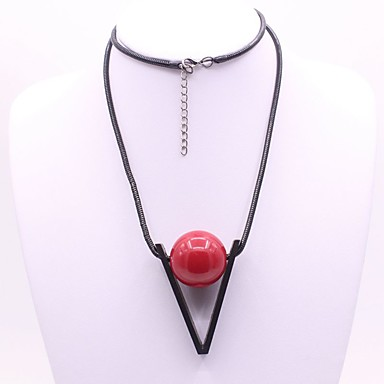نسائي مكعب زركونيا قلائد الحلي طويل سيدات كلاسيكي موضة حبل أكريليك أحمر 52 cm قلادة مجوهرات 1PC من أجل مناسب للبس اليومي