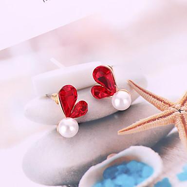 نسائي أقراط الزر 3D قلب الكورية حلو موضة لؤلؤ تقليدي الأقراط مجوهرات رمادي / أحمر من أجل مناسب للبس اليومي 1 زوج