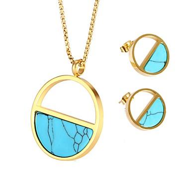 ราคาถูก Turquoise Jewelry Sets-สำหรับผู้หญิง Turquoise ต่างหูติดหู สร้อยคอ สุภาพสตรี โบฮีเมียน ธรรมชาติ โบโฮ Titanium Steel ต่างหู เครื่องประดับ สีทอง สำหรับ ของขวัญ กลางคืนออกและโอกาสพิเศษ