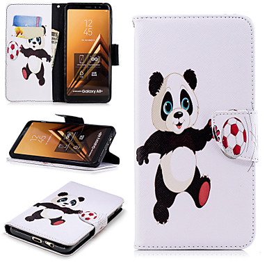 [$7.99] Case For Samsung Galaxy A6+ (2018) / A6 (2018) Wallet / Card Holder / with Stand Full Body Cases Panda Hard PU Leather for A6 (2018) /