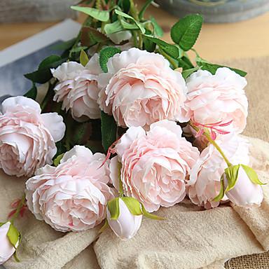 زهور اصطناعية 1 فرع كلاسيكي الزفاف أوروبي الفاوانيا Camellia أزهار الطاولة